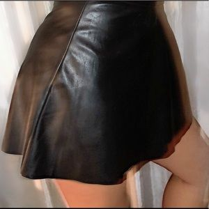 faux leather fit and flare skirt